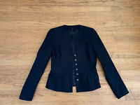 New Elie Tahari Womens sz 6 black snap buttons collarless blazer jacket