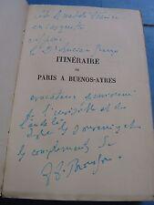 BROUSSON ITINERAIRE PARIS-BUENOS-AIRES 1927 ENVOI signé LUCIEN-GRAUX / Vélin