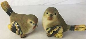 Resin Bird Figurine  Garden Decor One Pair Chickadee Finch Yellow Tan 6.5""