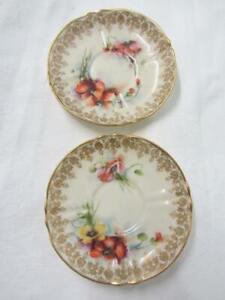 2 x Nautilus Glasgow Porcelain Ornate Hand Painted Floral Gilt Saucers c1896