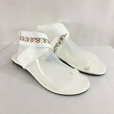 Womens Sandals Boho Faux Leather Embroidered Toe Strap Lace Up White US Size 12