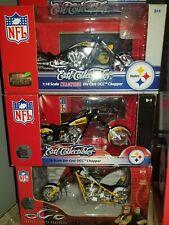 3pc lot diecast Pittsburgh Steelers motorcycle chopper NIB 1:18