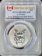 2020 Canada Silver Lynx Multifaceted High Relief PCGS PR70 First Day of Issue