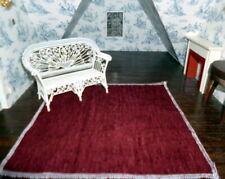"""Designer Fabric 1:12 DOLLHOUSE RUG Modern Red Velvet 9"""" x 9"""""""