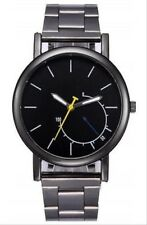 De Hombre Reloj Acero Inoxidable Lujo Diseño Analógico Cuarzo Oro  Pulsera