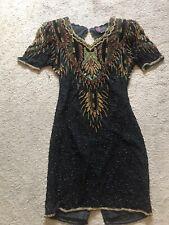 EUC Women's Vintage Silk Beaded PRECIOUS MOMENTS Dress Size Small