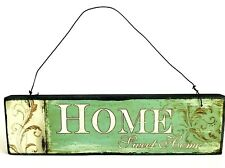 Home Sweet Home Retro Vintage Hanging Wooden Sign Shabby Chic Distressed Green