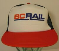 Old Vintage 1980s 1990s BC Rail Canada Red White Blue SNAPBACK TRUCKER HAT CAP