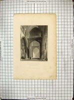 Antique Old Print 1835 Interior Salisbury Cathedral Transept Archer Winkles
