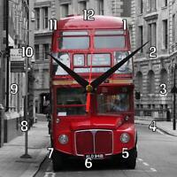 "Handmade ""London Bus"" novelty fun gift present wall clock personalise"
