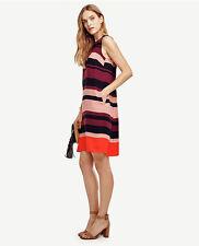 NWT Ann Taylor XS Stripe Trapeze Dress XS 30 Serena Pink $139 Orange Navy Purple