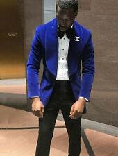 Men Royal Blue Smoking Jacket Elegant Wedding Groom Designer Party Wear Blazers