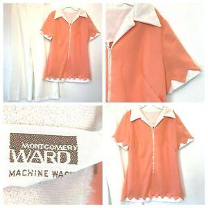 Vintage 1960s Montgomery Ward Orange Zigzag Hem Top size M L & White Pants P1