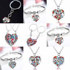 Women Heart Pendant Charm Bracelet Jewelry Key Chain Best Friends Gifts Necklace