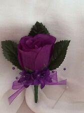 Cadbury Purple Silk Rose Buttonholes - Weddings / Proms Artificial Single Flower