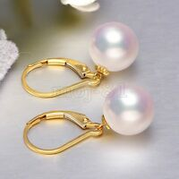 12MM Natural Tahitian White South Sea Shell Pearl 14k Gold GP Fashion Earring