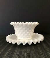 Fenton Milk Glass Hobnail Crimped Edge Mayonnaise Bowl Set with Underplate #3803