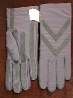 Women Isotoner Warm Knitlined Leather Trim One Sz Grey Driving Gloves Chevron BN