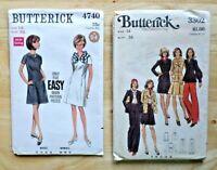 2 Vintage Butterick Pattern 3302 Jacket, Pants, Skirt & 4740 Dress Size 14 UNCUT