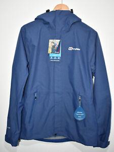 Berghaus Alluvion Waterproof Hydroshell Blue Rain Jacket Hood Mens UK Small NEW