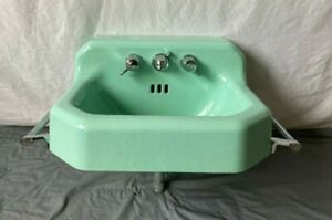 Vtg Mid Century Jadeite Green Porcelain Cast Iron Bath Sink Towel Bars 14-21E