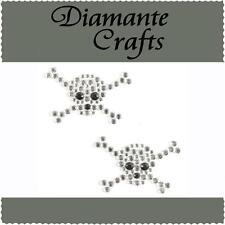 2 x 40mm Clear & Black Diamante Skull & Crossbones Vajazzle Rhinestone Gems
