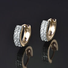 HUCHE Luxury Silver & Yellow Gold Filled Diamond Ring Pave Diamond Lady Earrings