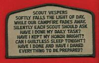 SCOUT VESPERS CSP OA FLAP Patch BSA Cub Scouts of America Boy Scout Song