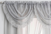 GLITTERY SILVER SPARKLES TASSEL FRINGED GREY VOILE NET CURTAIN SWAG £6.95 EACH