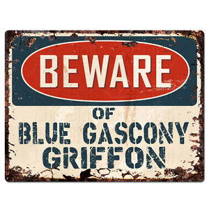 PPDG0188 Beware of BLUE GASCONY GRIFFON Plate Rustic TIN Chic Decor Sign