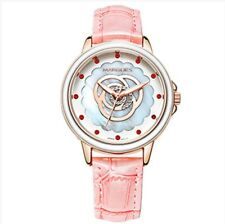 Women's Genuine pink Crystal leather watch