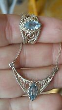 """Sterling Silver .925 Marquise Blue Topaz Pendant Necklace 19"""" & Ring"""
