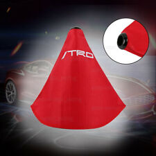 JDM TRD shift knob Shifter Boot Cover MT/AT w/ Red Stitches Racing Fabric Red