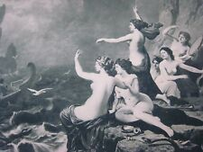 """Antique  1880s Print.. Gebbie & Co.  """" Odysseus and The Sirens """"..17x11.75"""