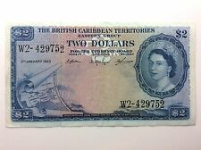 1963 Two 2 Dollars British Caribbean Territories Eastern Group W2 Banknote H728