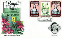 St VINCENT 1982 BIRTH OF PRINCE WILLIAM 50c GUTTER PAIR FIRST DAY COVER (b)