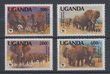 Uganda Sc 948-951 MNH. 1991 WWF issue cplt, endangered elephants, VF