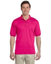 NWOT MEDium Heliconia Pink Gildan G880 pique polo sport shirt  Ultra Blend G8800