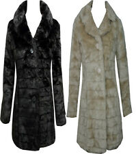 WOMENS LADIES BLACK BUTTON WARM WINTER FAUX FUR LONG JACKET COAT SIZE S M L XL