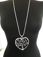 Large Silver Heart Shape Tree of Life Pendant Long Necklace Lagenlook Jewellery