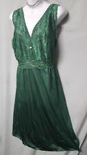 "Amoureuse Green Nightgown  Robe Peignoir Set  42"" Long   Sz 5X  66""  Bust Gift"