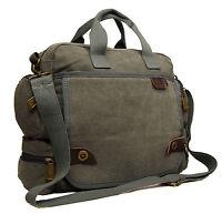 Mens Womens Ocello Canvas School Work College Uni Satchel Messenger Shoulder Bag