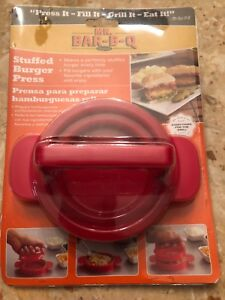 Mr Bar-B-Q  STUFFED BURGER PRESS  RED  Fill Burgers With Favorite Ingredients