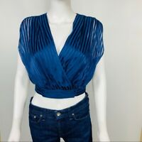 Alice + Olivia S/P Blue Stripe  Wrap Crop Top  NWT
