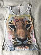Women's Rhinestone Tiger Print Sleeveless Tank Top Large LA TEEZ