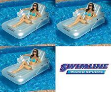 Swimline Swimming Pool Inflatable Kickback Lounger Adjustable Floats (3 Pack)