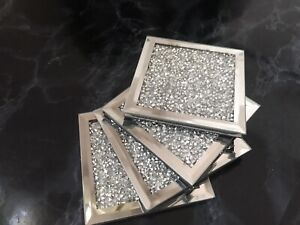 set of 4 mirror crushed jewel coaster mirror diamante diamond glass cup mat gift