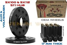 Pair of Volkswagen 5x100 5x112 17MM HubCentric Wheel Spacers + Bolts Fits( Audi)