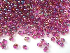 10g fuchsia-lined aqua AB Miyuki magatama drop beads -4 x 5mm- 1.5mm hole [2170]