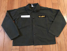 RARE VINTAGE US ARMY KIDS BOYS BUTTON SHIRT OLIVE GREEN